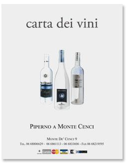 Ristorante Piperno, la carta dei vini